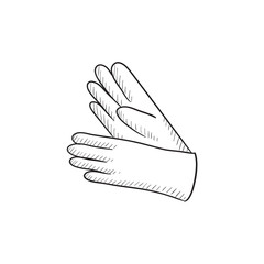 Gloves sketch icon.