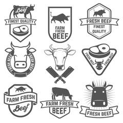 Set of fresh beef labels. Butchery shop emblems.  Design element