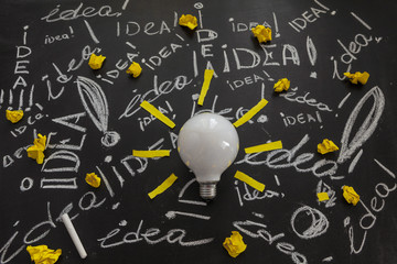 Light bulb with rays made from yellow stickers on the black chalkboard with titles idea! written by white chalk crumpled papers, light bulb idea , business idea , business concept ,Innovation concept