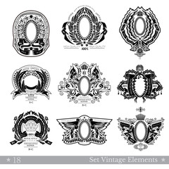 Set Of Banners And Oval Frames Between Different Floral Pattern And Ribbons. Vintage Banners With Coat of Arms Isolated On White