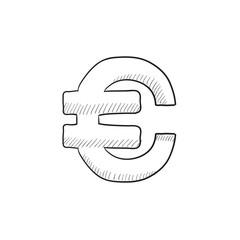 Euro symbol sketch icon.