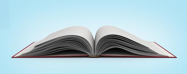 open book 3d render on gradient background