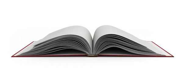 open book 3d render on white background