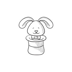 Rabbit in magician hat sketch icon.