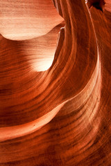 Sand scoured rocks in lower Antelope Canyon