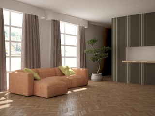 white interior design of living room