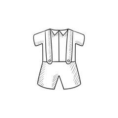 Baby shirt and shorts with suspenders sketch icon.