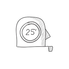 Tape measure sketch icon.