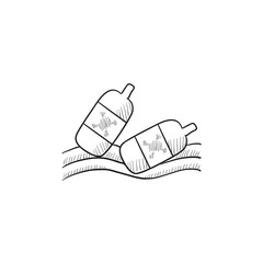 Bottles floating in water sketch icon.