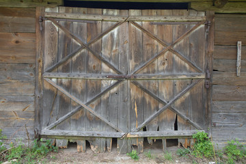 Wooden gate of an old barn