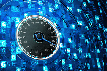 High speed internet connection, network performance and computer technology concept, speedometer dial on blue background with digital code data
