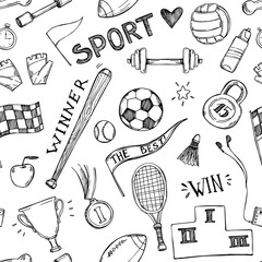 Hand drawn vector illustrations. Sport and fitness seamless patt