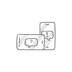 Smartphones with speech squares sketch icon.