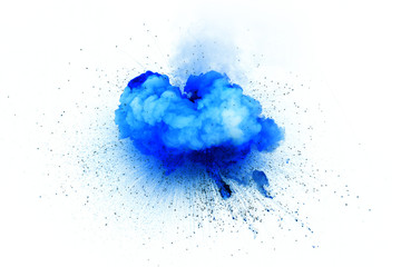 Blue explosion isolated on white background