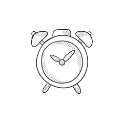 Alarm clock sketch icon.