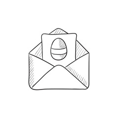 Easter greeting card in envelope sketch icon.