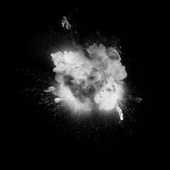 White explosion on the black background