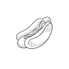 Hotdog sketch icon.