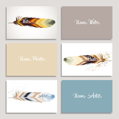 Set business card writer, artist, painter with color feather in boho style. Vector template