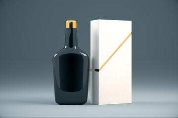 Black cognac bottle