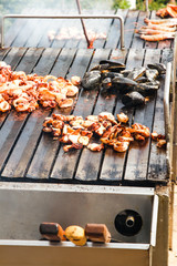 Grill mollusk, mussel cooking seafood street food and beach bbq