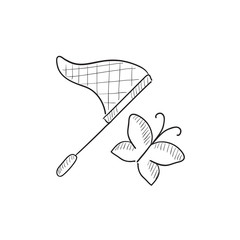 Butterfly and net sketch icon.