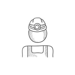 Coal miner sketch icon.