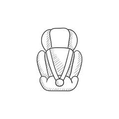 Baby car seat sketch icon.