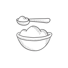 Baby spoon and bowl full of meal sketch icon.