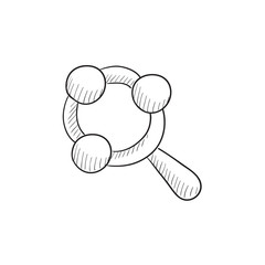 Baby rattle sketch icon.