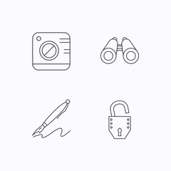Photo, open lock and search icons.
