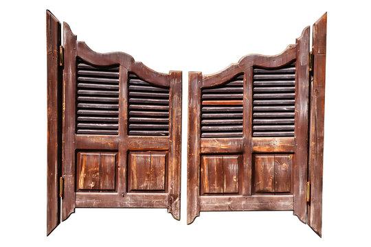 Old saloon doors isolated