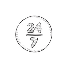 Open 24 hours and 7 days in wheek sketch icon.