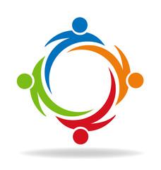 Teamwork partners friendship swooshes logo vector