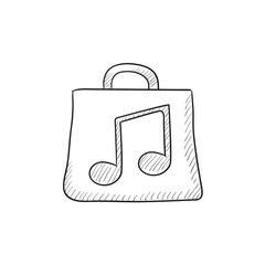 Bag with music note sketch icon.