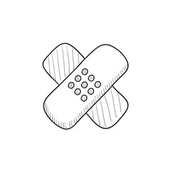 Adhesive bandages sketch icon.
