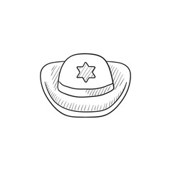 Sheriff hat sketch icon.