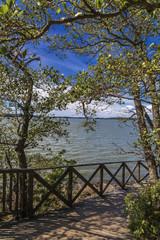 lake promenade with wooden flooring