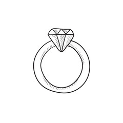 Diamond ring sketch icon.