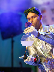 Experiments in a chemistry lab. conducting an experiment in the