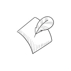Feather and document sketch icon.