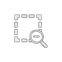 Zoom out sketch icon.