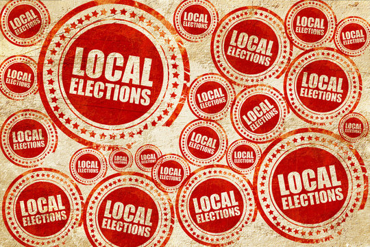 local elections, red stamp on a grunge paper texture