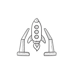 Space shuttle on take-off area sketch icon.