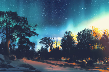 star field above the trees in forest,night scenery,illustration