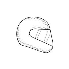 Motorcycle helmet sketch icon.