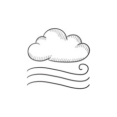 Windy cloud sketch icon.