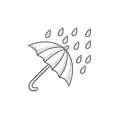 Rain and umbrella sketch icon.
