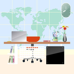 Illustration of flat modern workplace in room. Creative office workspace with map background.