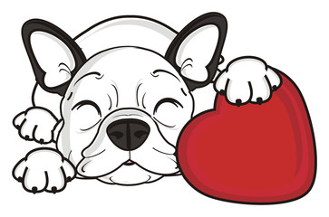 closed, eyes, holg, heart, love, hug, sleep, dream, lie, recognition, holiday, Valentine's Day, dog, french, bulldog, breed, background, white, isolated, cartoon, puppy,  animal, muzzle, snout, paws